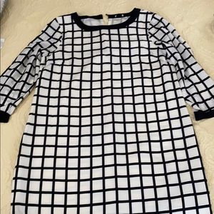 J Crew black and white check dress